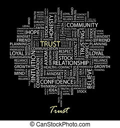 TRUST. Word cloud illustration. Tag cloud concept collage....