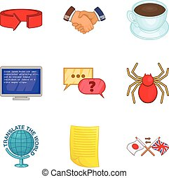 Trust fund icons set, cartoon style