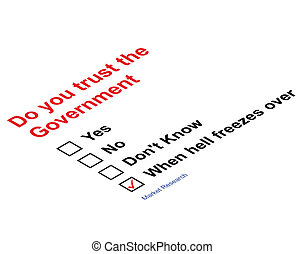 Trust Government Market research questionnaire isolated on ...
