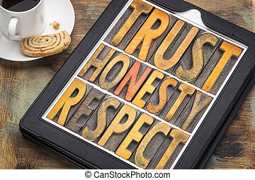trust honesty, respect word abstract in wood type