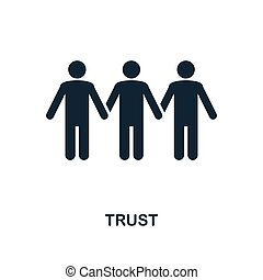 Trust icon. Monochrome style design from business ethics icon collection. UI and UX. Pixel perfect trust icon. For web design, apps, software, print usage.