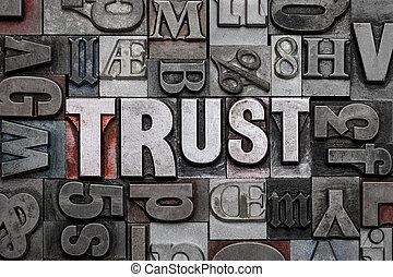 Trust letterpress word cloud.