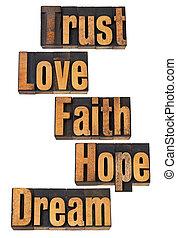 spiritual and motivational words - trust, love, faith, hope,...