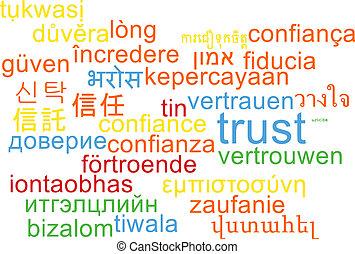 Trust multilanguage wordcloud background concept
