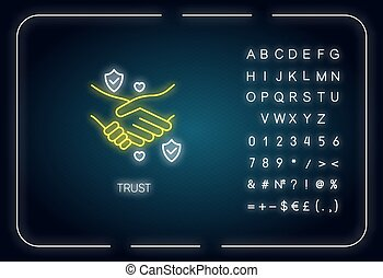 Trust neon light icon. Outer glowing effect. Sign with ...