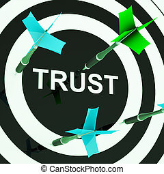 Trust On Dartboard Showing Mistrust Or Unreliable