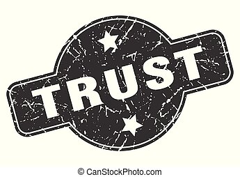 trust round grunge isolated stamp