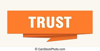 trust sign. trust paper origami speech bubble. trust tag....