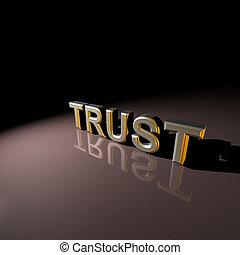 TRUST - 3D rendered TRUST text,3D art