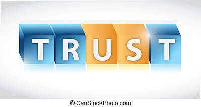 trust us cubes illustration design over a white background