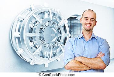 trust us - smiling man and vault door background