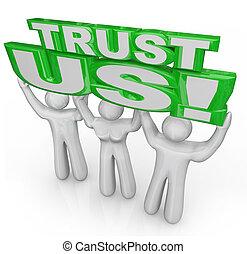 Trust Us Team of People Lift Words Promise Guarantee - Trust...