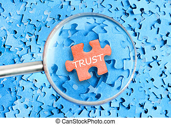 Trust word on puzzle background
