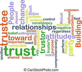 Word cloud concept illustration of building trust