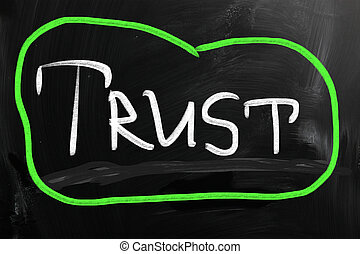 trust written chalk on blackboard