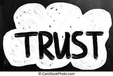 trust written with chalk on blackboard