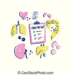 Trust Your Guts - Humans organs for medical checkup. Doodle...