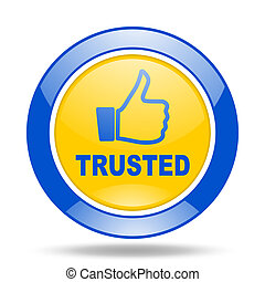 trusted blue and yellow web glossy round icon