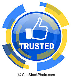 trusted blue yellow glossy web icon