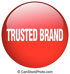 trusted brand red round gel isolated push button