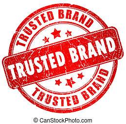 Trusted brand stamp isolated on white