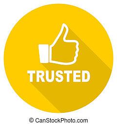 trusted flat design yellow web icon
