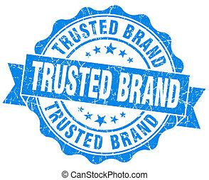 trusted, gatunek, błękitny, grunge, znak, odizolowany, na...