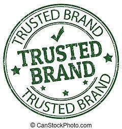 trusted, marca, estampilla
