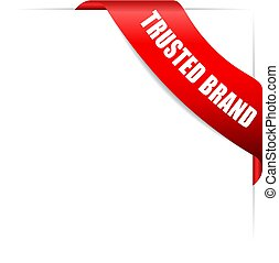 trusted, marca, vetorial, fita vermelha