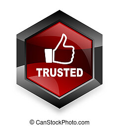 trusted red hexagon 3d modern design icon on white background