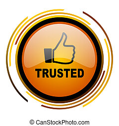 trusted round design orange glossy web icon