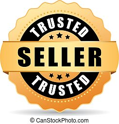 Trusted seller gold vector icon