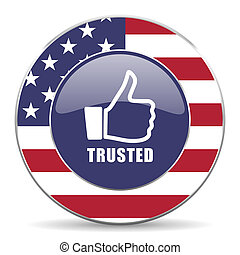 Trusted usa design web american round internet icon with shadow on white background.