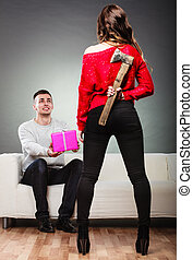 Trusting guy giving present to misleading girl - False ...