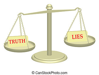 Truth and Lies on justice scales illustration