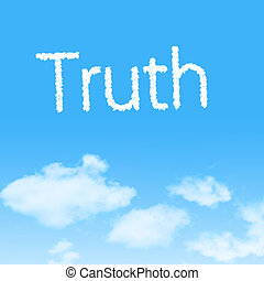 Truth cloud icon with design on blue sky background