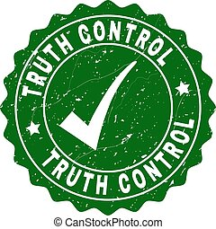 Truth Control Scratched Stamp with Tick