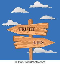 Truth or lies street sign, choice concept, vector illustration