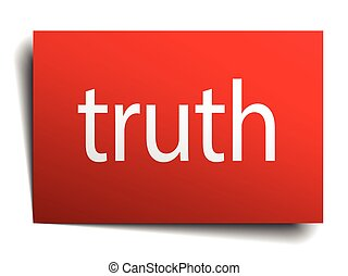 truth red paper sign on white background