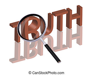 truth search - Magnifying glass enlarging part of red 3D...