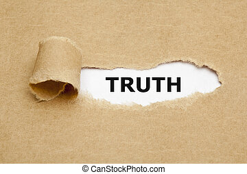 Truth Torn Paper - The word Truth appearing behind torn...