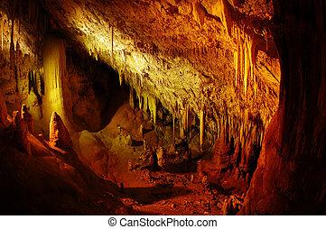trvael, foto, av, israel, -, soreq, grotta