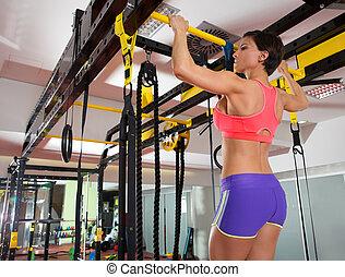 trx, barres, orteils, homme, crossfit, tirer-se lève, barre, fitness, 2