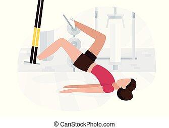 trx, stärke, glute, brücke, workout, kolben, hüfte,...