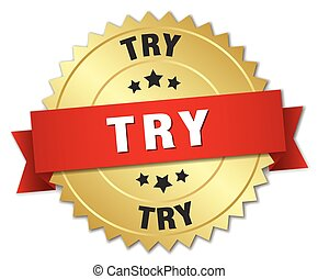 try 3d gold badge with red ribbon