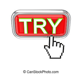 TRY button and white cursor