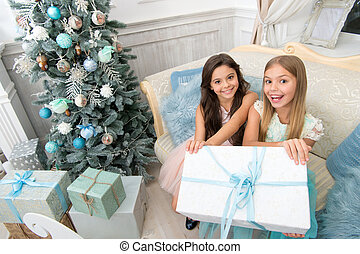 Try it. Child enjoy the holiday. Happy new year. Winter. xmas online shopping. Family holiday. Christmas tree and presents. The morning before Xmas. Little girls