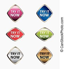 Try it now button icon set