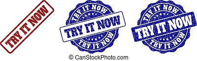 TRY IT NOW Grunge Stamp Seals - TRY IT NOW scratched stamp...