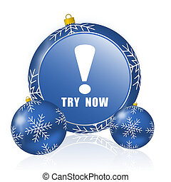 Try now blue christmas balls icon